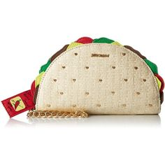 Betsey Johnson Kitsch Taco Wristlet ($78) ❤ liked on Polyvore featuring bags, handbags, clutches, brown wristlet, brown purse, wristlet handbags, wristlet clutches and wristlet purse