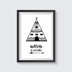 Welcome To Our Tribe , Black and White Wall Art, print wall art, home decor, nursery, art posters, poster art prints, Wall Art, Printable, Instant