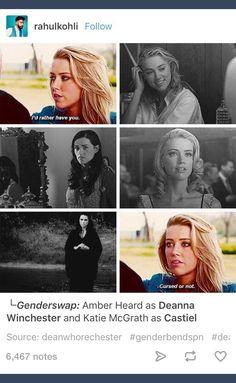 Genderbend; genderbent; genderswap; rule 63; Dean Winchester; Deanna Winchester; Castiel; Supernatural; spn