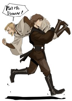 Aniken dragging obi wan away from a fight for a change