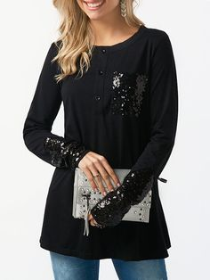 f1f6cd06ce Sequin Pocket Button Up ~ 3 Colors to Choose From! Chantal Lopez · Newchic Women's  Tops