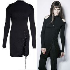 Sexy Black Emo Gothic Punk Fashion Long Sweaters for Women SKU-11411030