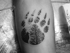 33 paw tattoo ideas - pictures and meaning - 33 paw tattoo ideas – pictures and meaning, abstract bear paw print with wolf on the forearm, tat - Bear Paw Tattoos, Animal Tattoos, Wolf Print Tattoo, Tattoo You, Cute Tattoos, Small Tattoos, Birthdate Tattoo, Biblical Tattoos, Bear Paw Print