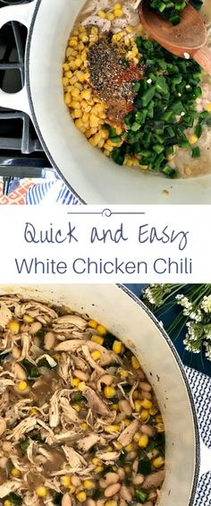 White chicken chili - so easy (made chicken in my IP) and absolutely delicious (added in about cup of cream and TBSP of sour cream at the end); the search for a white chili is over Creamy White Chicken Chili, Crockpot White Chicken Chili, White Chili, Chili Recipes, Soup Recipes, Yummy Recipes, Entree Recipes, Paleo Recipes, Recipes For Soups And Stews