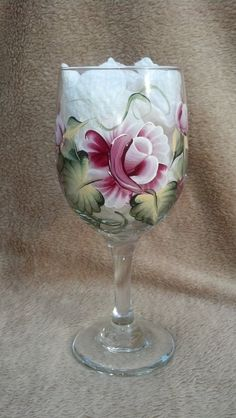 Large Rose Hand Painted Wine Glasses goblets Set of 4 by AtoZGifts, $22.00