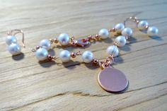 Beautiful Biwa Pearls and Copper Bracelet and Earrings set.