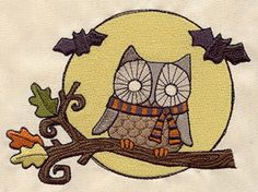 Night Fliers Retro Halloween Owl Embroidered Flour Sack Hand/Dish Towel