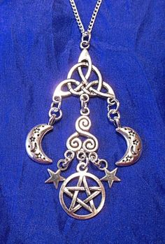 Celtic moon amulet pendant necklace wicca by sherrishempdesigns celtic moon star pentacle triquetra pendant necklace druid pagan wicca 18 ch aloadofball Image collections