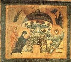 """The image on the right depicts Mary at the tomb of Jesus. It is one of a series of images from the """"Relinquary Box"""" which contains stones from holy sites of Palestine. Dated 6th-7th C. it is Located at Biblioteca, Vatican. can you see the dome shaped object above the tomb, If it is a building why is it hovering, Also, what is the round object on top? #aliens #ufo #art #et #ovni"""