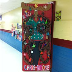 """Merry Chris-Moose!! From the book """"Mooseltoe"""" - great Christmas library display or bulletin board idea in December"""