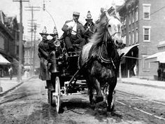 American Gilded Age era, c.1890s. Fire Apparatus; Horse-Drawn Hose Carriage. ~~ (Image: Library of Congress) ~~ {cwl}