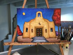"""Bobby Lee Krajnik   """"La Capilla del Fuerte""""   12 x 16 x 1.5""""   oil on linen   I updated this piece a little, as I wasn't quite happy with the colors. This is San Pedro Chapel (b.1932) in the Fort Lowell neighborhood of Tucson, Az. This chapel in the beautiful setting of the Sonoran Desert is still used to hold weddings. Adobe House, Mexican Art, Tile Ideas, Animal Paintings, Santa Fe, Rock Art, Bobby, The Neighbourhood, Fine Art"""