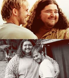 Hurley and Charlie, Jorge and Dom. This looks like a couple giggly moments taken straight off a blooper reel, and I love it!