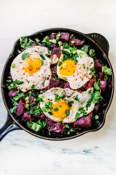 Purple Sweet Potato & Kale Hash With Eggs