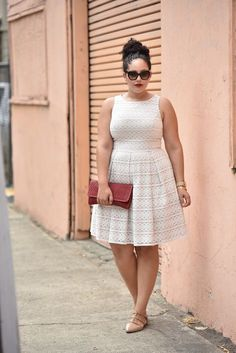 Girl with Curves - Eyelet Lace Fit & Flare Dress Plus Size Skirts, Plus Size Dresses, Plus Size Outfits, Plus Size Fashion For Women, Plus Size Women, Moda Feminina Plus Size, Casual Dresses, Fashion Dresses, Looks Plus Size