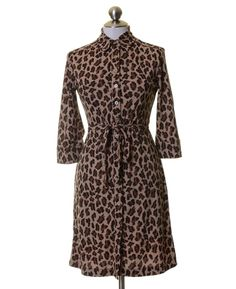Express Beige Brown Leopard Print Knit Button Shirt Dress Size 1/2 XS