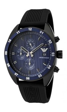 c5102739cbd Emporio Armani Men s Chronograph Blue Textured Dial Black Silicon Men s  Watch AR5930 Armani Men