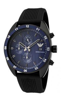Emporio Armani Men's Chronograph Blue Textured Dial Black Silicon Men's Watch AR5930
