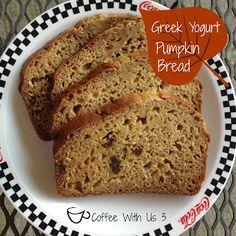 Pumpkin Raisin Bread by Coffee With Us 3 / Yummy fall bread made with Greek Yogurt Best Pumpkin, Pumpkin Bread, Pumpkin Pie Spice, Pumpkin Pumpkin, Best Bread Recipe, Bread Recipes, Raisin Bread, How To Make Bread, Quick Bread