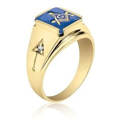 10K Yellow Gold Inlayed Blue Spinal Masonic Ring with Cubics