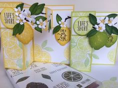 Today's cards feature the awesome Lemon Zest stamp set and Lemon Builder punch. As you can see I made a lime version too. I know limes are. Fun Fold Cards, Pop Up Cards, Folded Cards, Fun Cards, Stampin Up Catalog, Stamping Up Cards, Paper Pumpkin, Paper Cards, Greeting Cards Handmade
