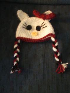 Wednesday's Crafts: Hello Kitty Hat Crochet Baby, Free Crochet, Knit Crochet, Crocheted Hats, Sewing Hacks, Sewing Tips, Kids Hats, Baby Hats, Hello Kitty