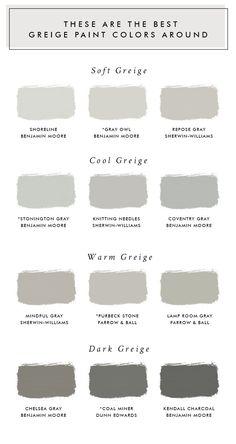 These Are The Best Greige Paint Colors Around - Laurel Harrison - Living room paint colors - greige color Exterior Paint Colors For House, Interior Paint Colors, Paint Colors For Living Room, Paint Colors For Home, House Colors, Lowes Paint Colors, Fixer Upper Paint Colors, Modern Paint Colors, Farmhouse Paint Colors