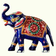 Metal Elephant With Meenakari Painting-6 inch