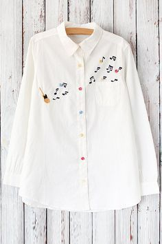 Turn Down Collar Long Sleeve Guitar Embroidered White Shirt Embroidery On Clothes, Shirt Embroidery, Embroidered Clothes, Embroidery Fashion, Hand Embroidery Designs, Kurti Designs Party Wear, Kurta Designs, Cute Blouses, Blouses For Women