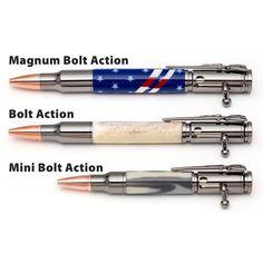 PSI Bolt Action Pen size comparisons --- https://www.woodturnerscatalog.com/p/1/5988/PSI-Bolt-Action-Pen-Kit Compare the sizes of these popular bolt action pen turning projects. #penmaking #penturning #woodturning