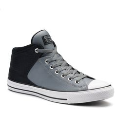 Adult Converse Chuck Taylor All Star High Street Leather Sneakers ($53) ❤ liked on Polyvore featuring men's fashion, men's shoes, men's sneakers, med grey, mens leather high top sneakers, mens leather sneakers, mens high tops, mens hi top shoes and mens grey leather shoes