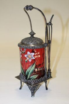 Lot: Victorian Cranberry Enamel Decorated Pickle Caster, Lot Number: 0220, Starting Bid: $100, Auctioneer: Stony Ridge Auction, Auction: 19th C Art Glass Paintings Furniture & More, Date: June 14th, 2015 EDT