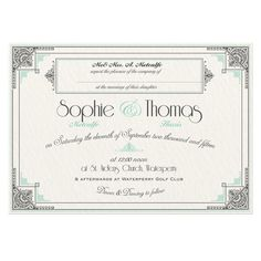 $112.41 for 50 Deco Wedding Invitations