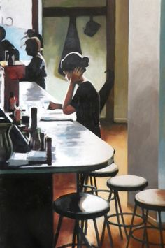 French girl bar 150/100cm oil on canvas