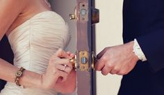 Bride & Groom - Cute for Bridal Pictures! Except I'd do bride knocking and groom opening