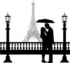 Romantische Paar vor Eiffelturm in Paris unter Dach Silhouette, ein in der Reihe von ähnlichen Bildern Stockfoto - 16760083
