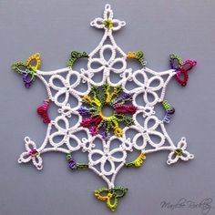 """Yarnplayer's Tatting Blog: New free original pattern! """"Melt Into Spring"""" snowflake tatted with daisy picots"""