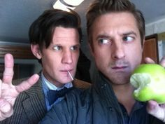 youcraftyjackrabbit:  wrappedinclover:  These two are too cute  LOOK AT ARTHUR DARVILL'S FACE. he's like… THESE THINGS ARE SUPPOSED TO KEEP YOU AWAY FROM ME!  there's that apple