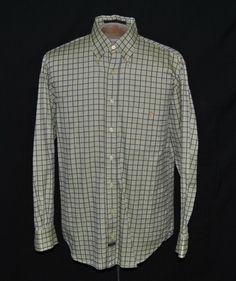 Robert Talbott Shirt M Button-Down Long Sleeve Green Plaid 100% Cotton #RobertTalbott