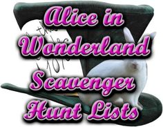 Alice in Wonderland Themed Scavenger Hunt List Collection Mad Hatter Party, Mad Hatter Tea, Mad Hatters, Halloween Themes, Halloween Party, Scavenger Hunt List, Alice Tea Party, Tea Party Birthday, 13th Birthday