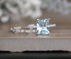 Milgrain Diamond Aquamarine Engagement Ring, Diamond Wedding Band, White Gold Bridal Ring Set, Emerald Cut 10x8mm Aquamarine