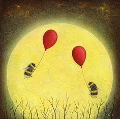 home Art Nature - Full Moon with Bee and Balloon Art Print Nature Painting Gift Idea Home and Nursery Decor Insect Wall Art. Bee Painting, I Love Bees, Bee Tattoo, Bee Art, Nature Paintings, Art Nature, Bees Knees, Whimsical Art, Fine Art Prints