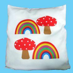 Toadstools & Rainbows Cushion Cover. Bedroom decor. by FluffyFlump, £9.99