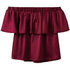 SheIn(sheinside) Burgundy Off The Shoulder Ruffle Blouse (520 UYU) ❤ liked on Polyvore featuring tops, blouses, sexy blouses, summer blouses, flutter sleeve top, off-the-shoulder blouses and sexy crop top