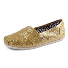 Toms Classics Gold Sequins mens Shoes: Toms campaign One for One- purchase one shoe and Toms donates shoes for people in need.