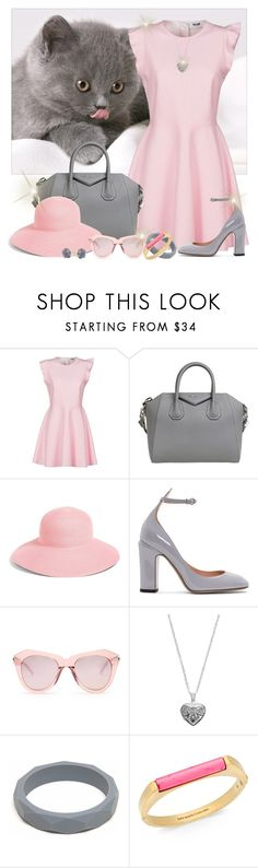 """""""Here kitty"""" by joyfulmum ❤ liked on Polyvore featuring MSGM, Givenchy, Eric Javits, Valentino, Karen Walker, Silver Expressions by LArocks, Kate Spade and Pasquale Bruni"""