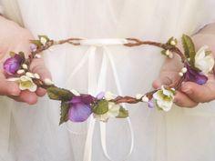 Purple Flower Crown by NoonOnTheMoon #flowercrown #hair #weddings