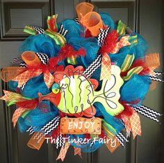 Summer Deco Mesh Wreath Fish on Etsy, $89.00