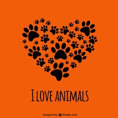 Eu amo animais template Vetor grátis