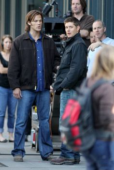 Jensen Ackles & Jared Padalecki on the set of 'Supernatural' in Vancouver, Canada. ..